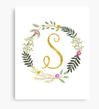 Floral and Gold Initial Monogram S Canvas Print