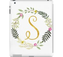 Floral and Gold Initial Monogram S iPad Case/Skin