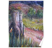 Fence Post in Flinders Ranges by Heather Holland Poster