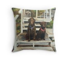 Labradors at the Lake Throw Pillow