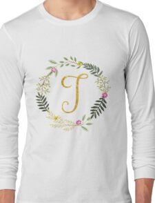 Floral and Gold Initial Monogram T Long Sleeve T-Shirt