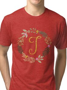 Floral and Gold Initial Monogram T Tri-blend T-Shirt