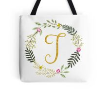 Floral and Gold Initial Monogram T Tote Bag