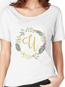 Lovely leaf and floral gold initial monogram U Women's Relaxed Fit T-Shirt