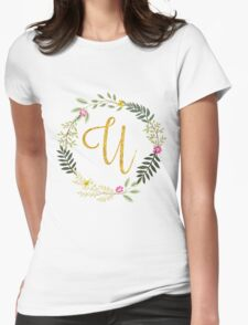 Lovely leaf and floral gold initial monogram U Womens Fitted T-Shirt