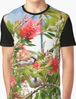 Sparrows in the bottle brush bush Graphic T-Shirt