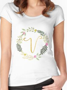 Floral and Gold Initial Monogram V Women's Fitted Scoop T-Shirt