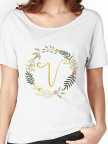 Floral and Gold Initial Monogram V Women's Relaxed Fit T-Shirt