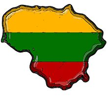 Lithuania Map With Lithuanian Flag Photographic Print