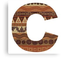 Letter C Leather Look Pattern Tribal Ethnic Monogram Initial Canvas Print