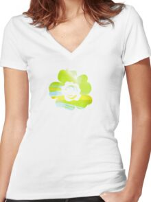 In Between Green, Yellow and Blue - JUSTART ©  Women's Fitted V-Neck T-Shirt