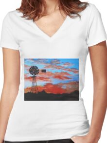 outback sunset Women's Fitted V-Neck T-Shirt