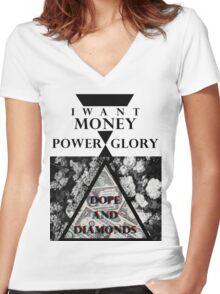 Lana Del Rey / Money Power Glory [2] Women's Fitted V-Neck T-Shirt