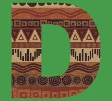 Letter D Leather Look Pattern Tribal Ethnic Monogram Initial Kids Tee