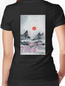 Red Sun Women's Fitted V-Neck T-Shirt
