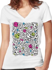 Funky Skulls Women's Fitted V-Neck T-Shirt
