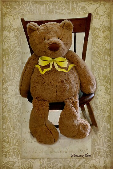 Storybook Teddy Bear with a Ribbon by SummerJade
