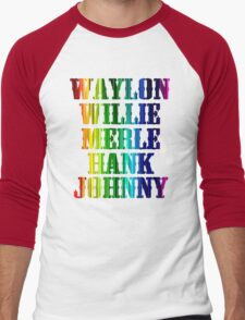 cute Waylon Jennings Willie Nelson Merle Haggard Hank Williams Johnny Cash  Men's Baseball ¾ T-Shirt