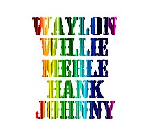cute Waylon Jennings Willie Nelson Merle Haggard Hank Williams Johnny Cash  Photographic Print