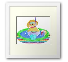 Whimsical Preppy Yellow Lab Summer Fun Framed Print