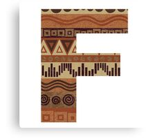 Letter F Leather Look Pattern Tribal Ethnic Monogram Initial Canvas Print