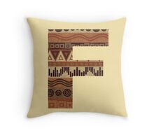 Letter F Leather Look Pattern Tribal Ethnic Monogram Initial Throw Pillow