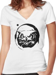 Angry Owl Women's Fitted V-Neck T-Shirt