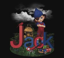 Jack Red Blue - Kids Art with Custom Name Kids Tee