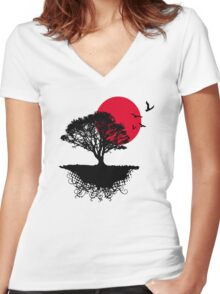 Red Sunset, Asian Women's Fitted V-Neck T-Shirt