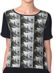 Intricate Ironwork Streetlights on an Interesting Green and Gray Background Chiffon Top