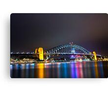 Sydney Harbour Bridge, Sydney, NSW, Australa - Night Time Lights Canvas Print
