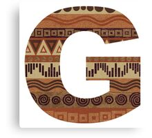Letter G Leather Look Pattern Tribal Ethnic Monogram Initial Canvas Print