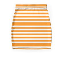 Orange Stripes Pattern Mini Skirt