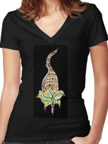 Plant with flower Women's Fitted V-Neck T-Shirt