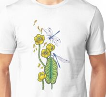 yellow water lilies and dragonflies Unisex T-Shirt