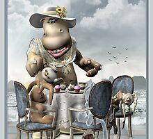 DD Hippo -Tea For Two titled by Debra Richie