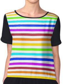 Rainbow Pattern Stripes Chiffon Top