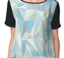 Blue abstract geometric rumpled triangular low poly style  Chiffon Top