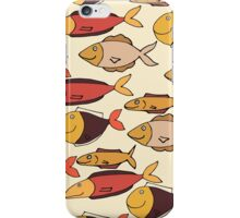 Decorative hand drawn pattern with funny fish iPhone Case/Skin