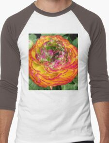 Orange and Red .. Shades of a flower Men's Baseball ¾ T-Shirt