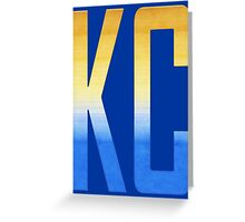 KC monogram Gold/Blue Greeting Card