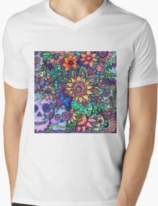 Colorful Sugar Skull Garden Zentangle Mens V-Neck T-Shirt