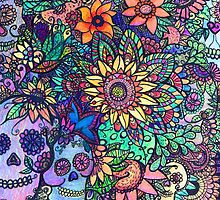 Colorful Sugar Skull Garden Zentangle by Candace Byington