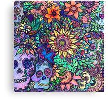 Colorful Sugar Skull Garden Zentangle Canvas Print