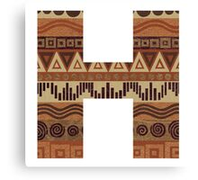 Letter H Leather Look Pattern Tribal Ethnic Monogram Initial Canvas Print
