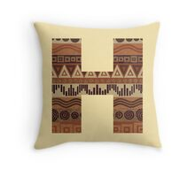 Letter H Leather Look Pattern Tribal Ethnic Monogram Initial Throw Pillow