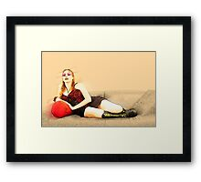 digitally enhanced picture of an arrogant model in red corset  Framed Print