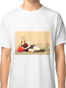 digitally enhanced picture of an arrogant model in red corset  Classic T-Shirt