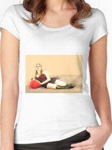 digitally enhanced picture of an arrogant model in red corset  Women's Fitted Scoop T-Shirt