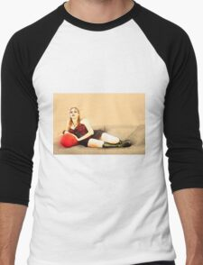 digitally enhanced picture of an arrogant model in red corset  Men's Baseball ¾ T-Shirt